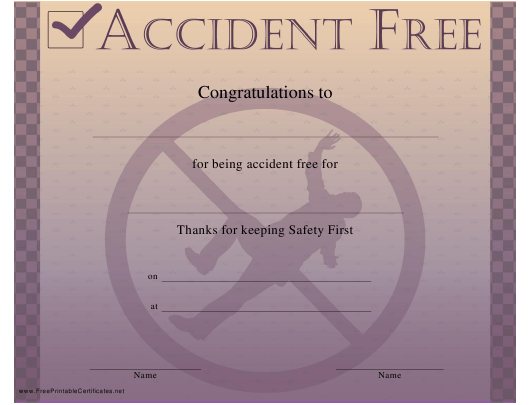 """""""Accident Free Certificate Template"""" Download Pdf"""