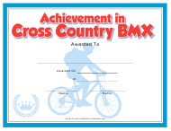 """Cross Country Bmx Certificate of Achievement Template"""