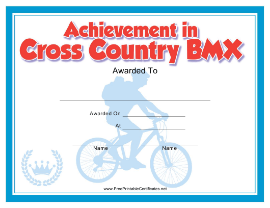 """Cross Country Bmx Certificate of Achievement Template"" Download Pdf"