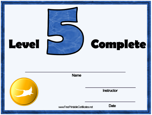 """Swimming Lessons Level Five Certificate Template"" Download Pdf"