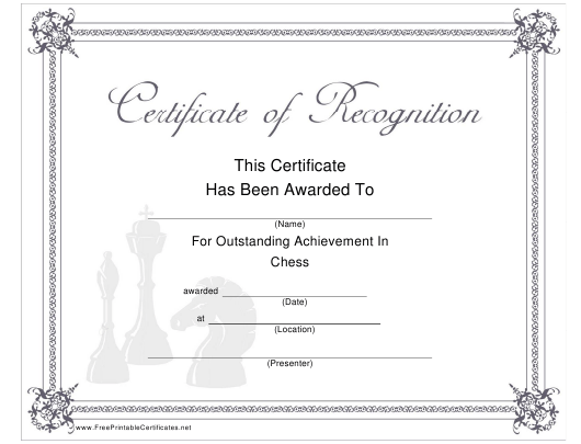 """""""Chess Outstanding Achievement Certificate Template"""" Download Pdf"""