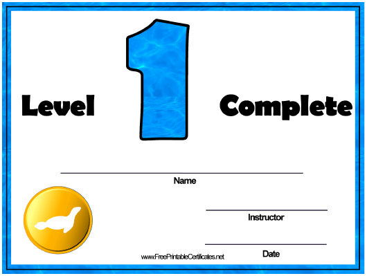 """Swimming Lessons - Level One Certificate Template"" Download Pdf"