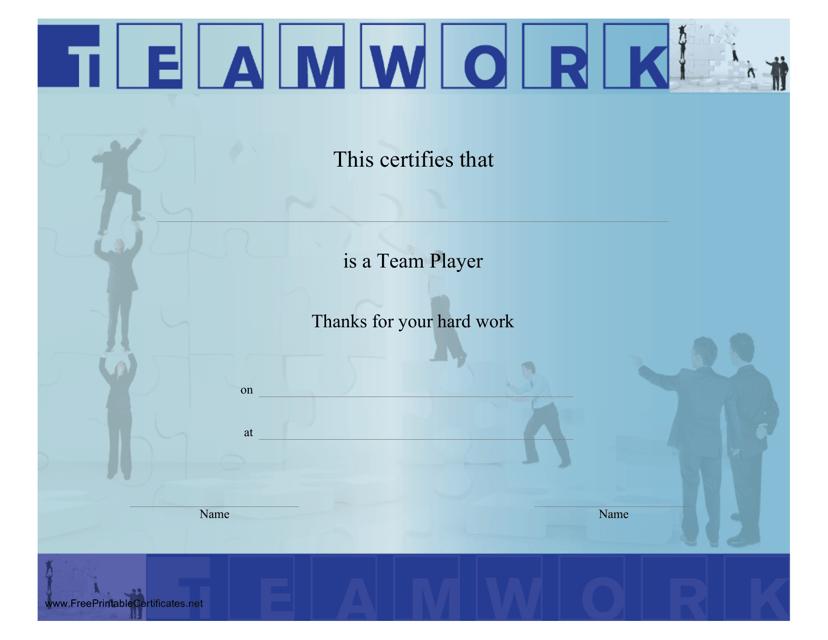 """Teamwork Certificate Template"" Download Pdf"