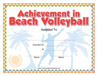 """Beach Volleyball Certificate of Achievement Template"""