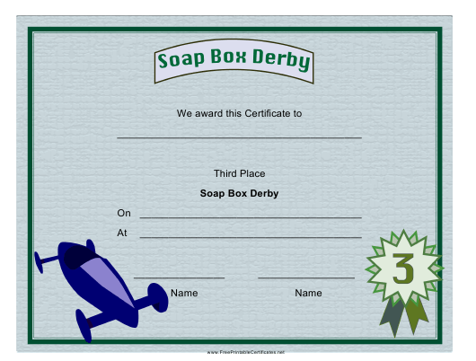 """""""Soap Box Derby Third Place Certificate Template"""" Download Pdf"""