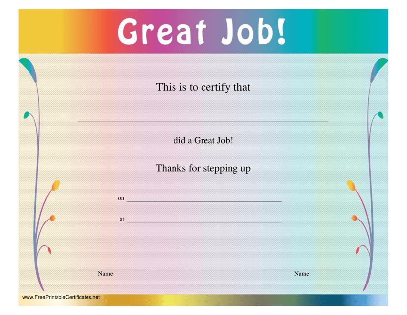 """Great Job Certificate Template"" Download Pdf"
