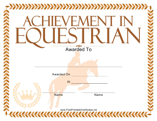"""Equestrian Certificate of Achievement Template"" Download Pdf"