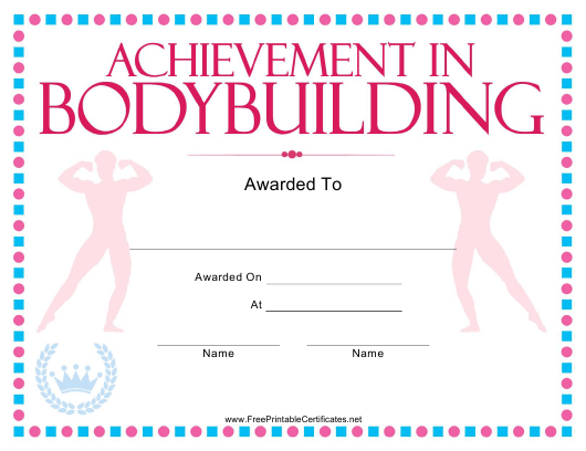 """Bodybuilding Certificate of Achievement Template"" Download Pdf"