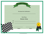 """""""Woodcar Derby Third Place Certificate Template"""""""