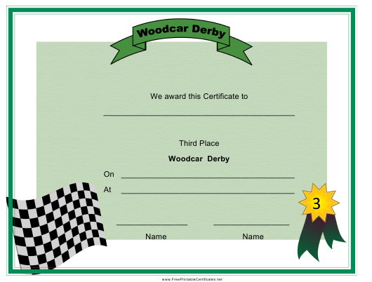"""Woodcar Derby Third Place Certificate Template"" Download Pdf"