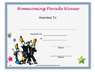 """Homecoming Parade Award Certificate Template"""