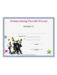 Homecoming Parade Award Certificate Template