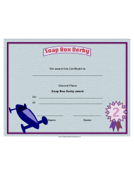 Soap Box Derby Second Place Certificate Template