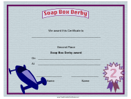 """Soap Box Derby Second Place Certificate Template"""