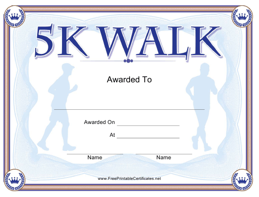 """5k Walk Certificate Template"" Download Pdf"