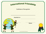 """""""International Friendship Certificate of Recognition Template"""""""