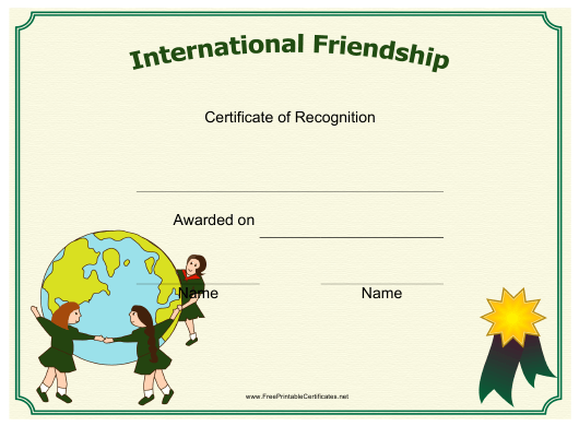 """International Friendship Certificate of Recognition Template"" Download Pdf"
