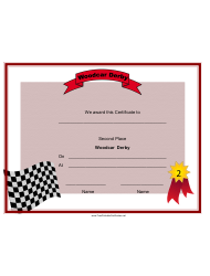 Woodcar Derby Second Place Certificate Template