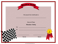 """Woodcar Derby Second Place Certificate Template"""