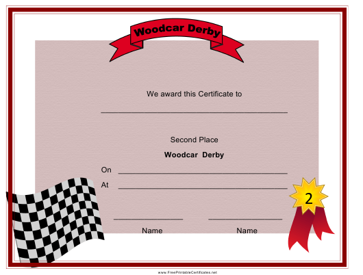 """Woodcar Derby Second Place Certificate Template"" Download Pdf"