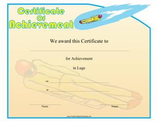 """Luge Certificate of Achievement Template"""