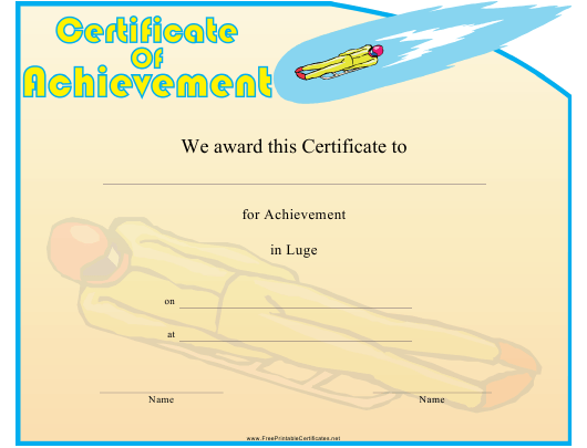 """Luge Certificate of Achievement Template"" Download Pdf"