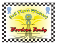 """""""Woodcar Derby 3rd Place Certificate Template"""""""