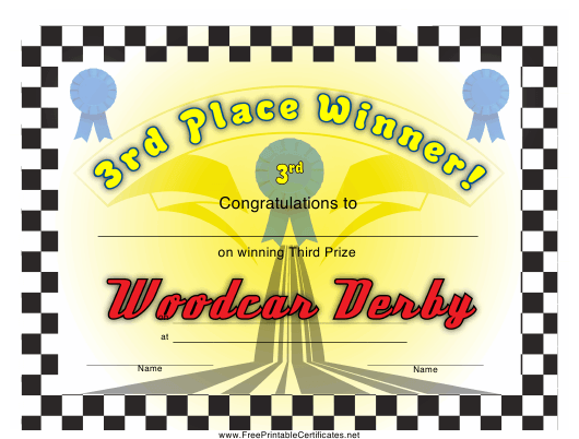 """Woodcar Derby 3rd Place Certificate Template"" Download Pdf"