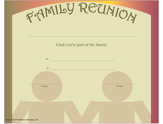 """""""Family Reunion Certificate Template"""" Download Pdf"""