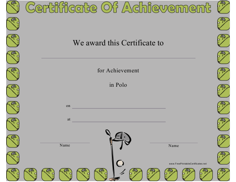 """Polo Certificate of Achievement Template"" Download Pdf"