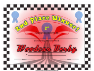 """Woodcar Derby 2nd Place Certificate Template"""