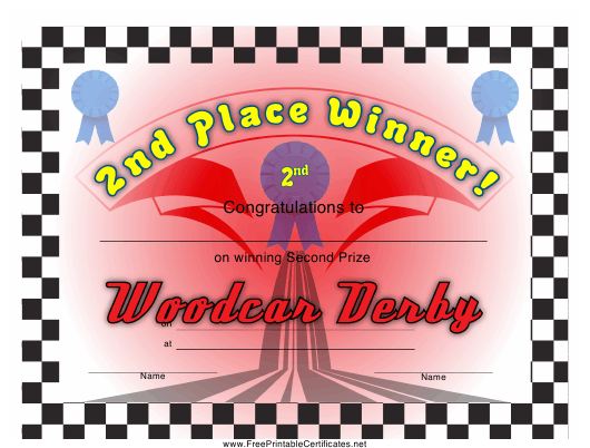 """""""Woodcar Derby 2nd Place Certificate Template"""" Download Pdf"""