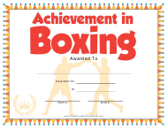 """Boxing Certificate of Achievement Template"""