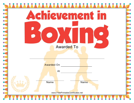 """""""Boxing Certificate of Achievement Template"""" Download Pdf"""