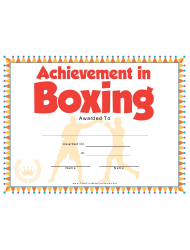 Boxing Certificate Of Achievement Template
