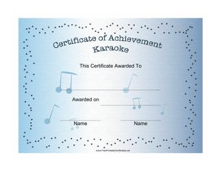 """Karaoke Certificate of Achievement Template"""