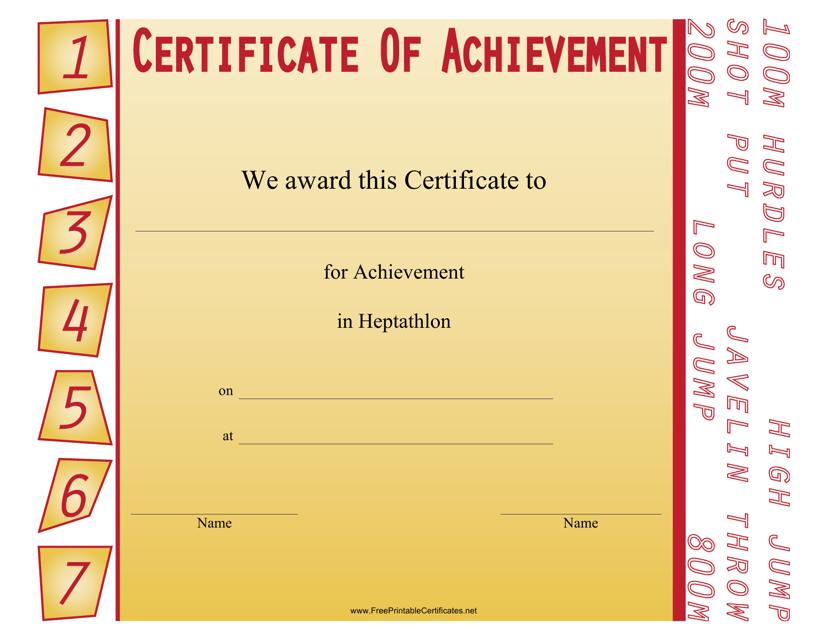 """Heptathlon Certificate of Achievement Template"" Download Pdf"