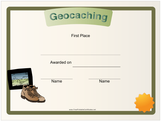 """""""Geocaching First Place Certificate Template"""" Download Pdf"""