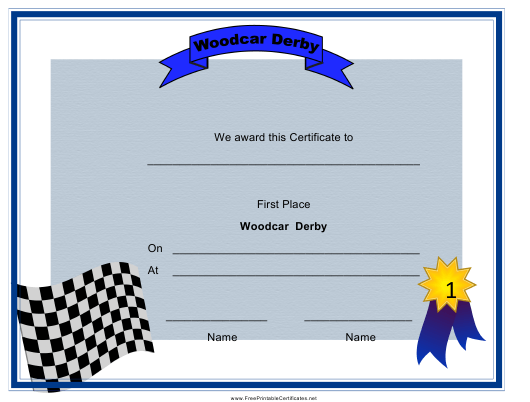 """""""Woodcar Derby First Place Certificate Template"""" Download Pdf"""