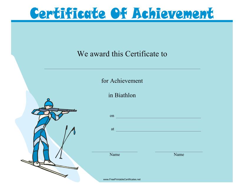 """Biathlon Certificate of Achievement Template"" Download Pdf"