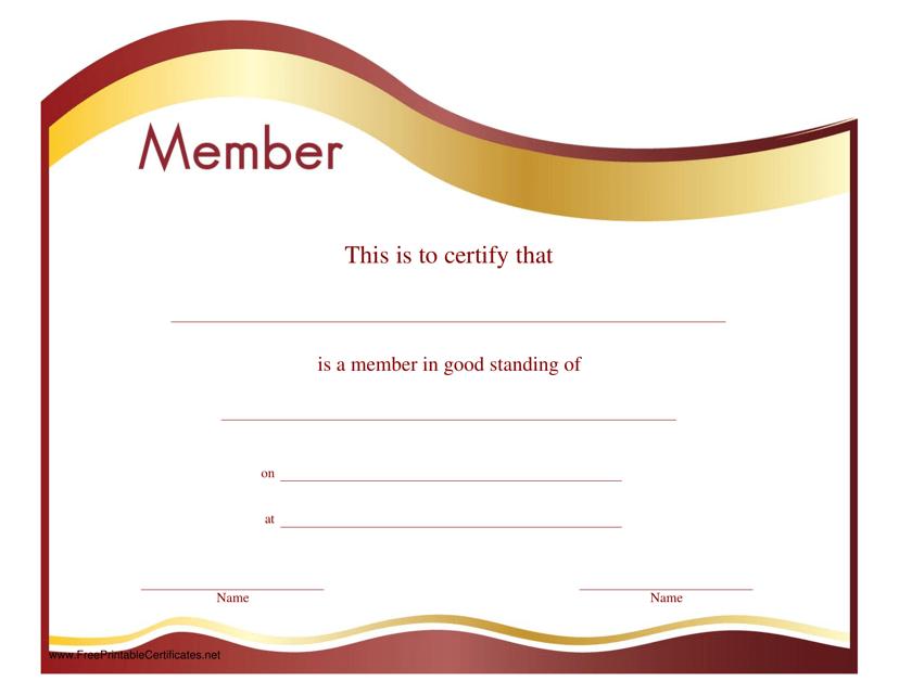 """""""Membership Certificate Template"""" Download Pdf"""