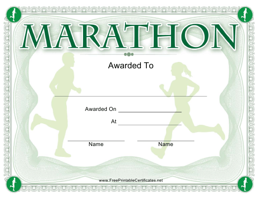 """Marathon Award Certificate Template"" Download Pdf"