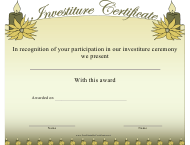 """Investiture Certificate of Participation Template"""