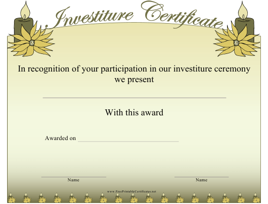 """Investiture Certificate of Participation Template"" Download Pdf"