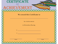 """Motorboat Racing Certificate of Achievement Template"""