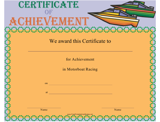 """Motorboat Racing Certificate of Achievement Template"" Download Pdf"