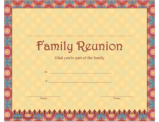 """Family Reunion Certificate Template"" Download Pdf"