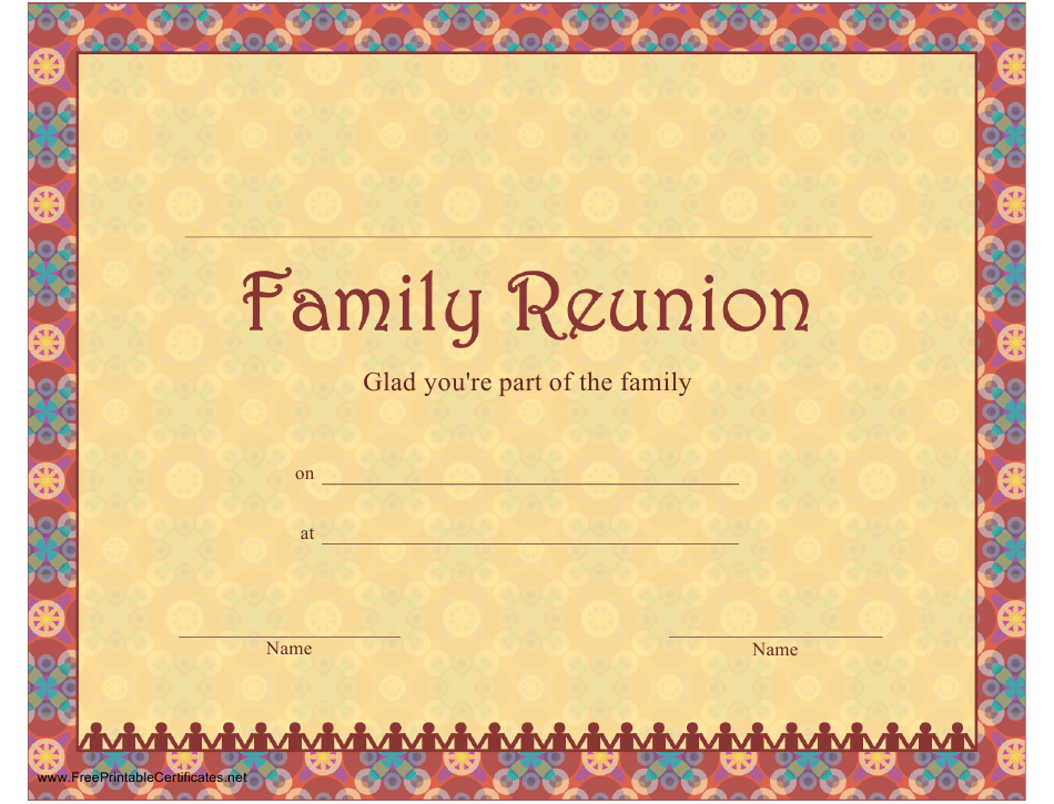 Family Reunion Certificate Template Download Printable Pdf Templateroller