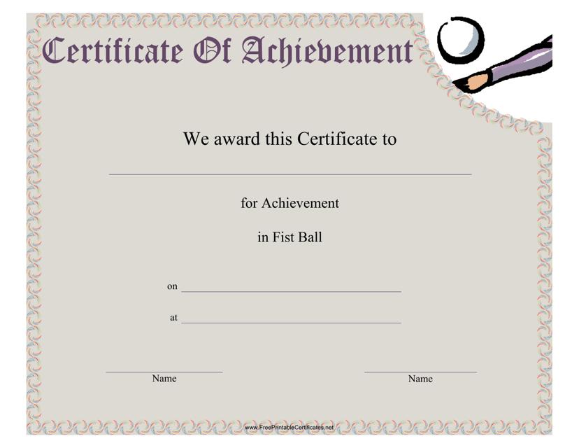 """Fist Ball Certificate of Achievement Template"" Download Pdf"