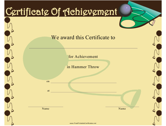 """""""Hammer Throw Certificate of Achievement Template"""" Download Pdf"""